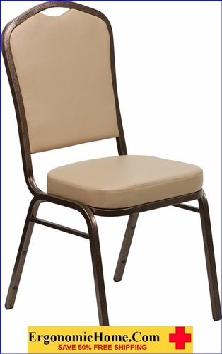 Ergonomic Home TOUGH ENOUGH Series Crown Back Stacking Banquet Chair with Tan Vinyl and 2.5'' Thick Seat - Copper Vein Frame EH-FD-C01-COPPER-TN-VY-GG <b><font color=green>50% Off Read More Below...</font></b>