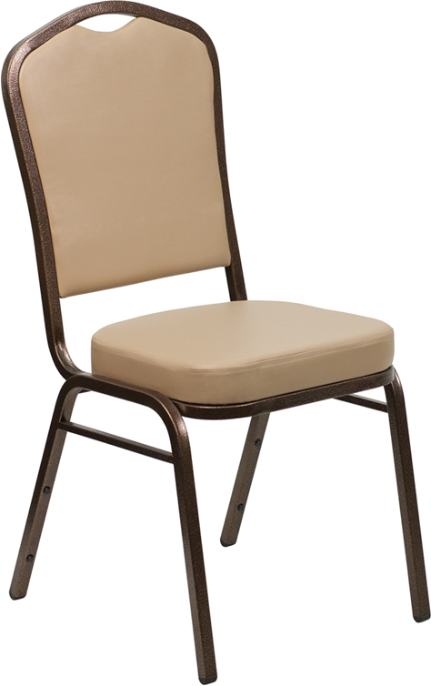 <font color=#c60>Save 50% w/Free Shipping!</font> TOUGH ENOUGH Series Crown Back Stacking Banquet Chair with Tan Vinyl and 2.5'' Thick Seat - Copper Vein Frame FD-C01-COPPER-TN-VY-GG <font color=#c60>Read More ... </font>