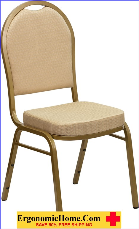 </b></font>Ergonomic Home TOUGH ENOUGH Series Dome Back Stacking Banquet Chair with Beige Patterned Fabric and 2.5'' Thick Seat - Gold Frame EH-FD-C03-ALLGOLD-H20124E-GG <b></font>. </b></font></b>