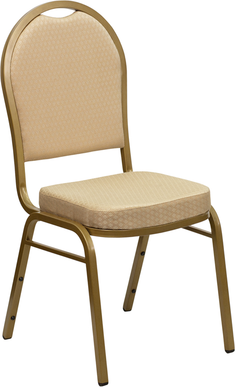 Ergonomic Home TOUGH ENOUGH Series Dome Back Stacking Banquet Chair with Beige Patterned Fabric and 2.5'' Thick Seat - Gold Frame EH-FD-C03-ALLGOLD-H20124E-GG <b><font color=green>50% Off Read More Below...</font></b>