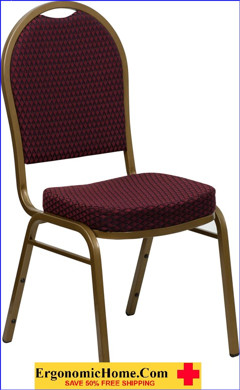 </b></font>Ergonomic Home TOUGH ENOUGH Series Dome Back Stacking Banquet Chair with Burgundy Patterned Fabric and 2.5'' Thick Seat - Gold Frame EH-FD-C03-ALLGOLD-EFE1679-GG <b></font>. </b></font></b>