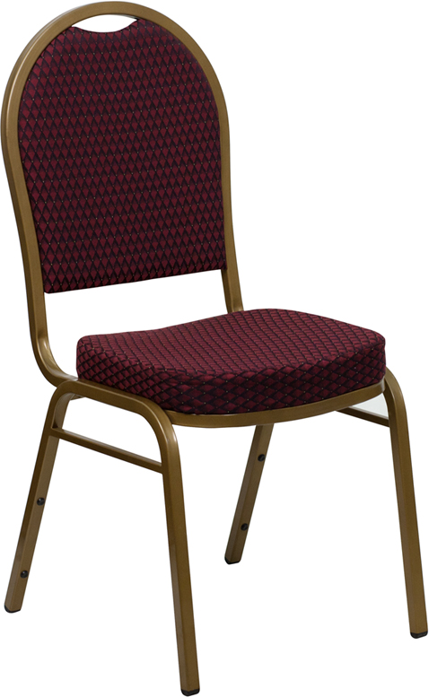 <font color=#c60>Save 50% w/Free Shipping!</font> TOUGH ENOUGH Series Dome Back Stacking Banquet Chair with Burgundy Patterned Fabric and 2.5'' Thick Seat - Gold Frame FD-C03-ALLGOLD-EFE1679-GG <font color=#c60>Read More ... </font>