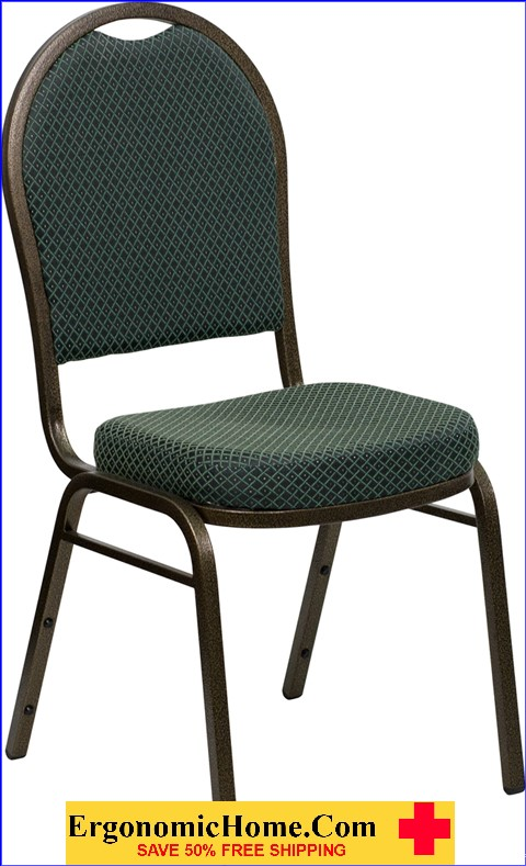 </b></font>Ergonomic Home TOUGH ENOUGH Series Dome Back Stacking Banquet Chair with Green Patterned Fabric and 2.5'' Thick Seat - Gold Vein Frame EH-FD-C03-GOLDVEIN-4003-GG <b></font>. </b></font></b>
