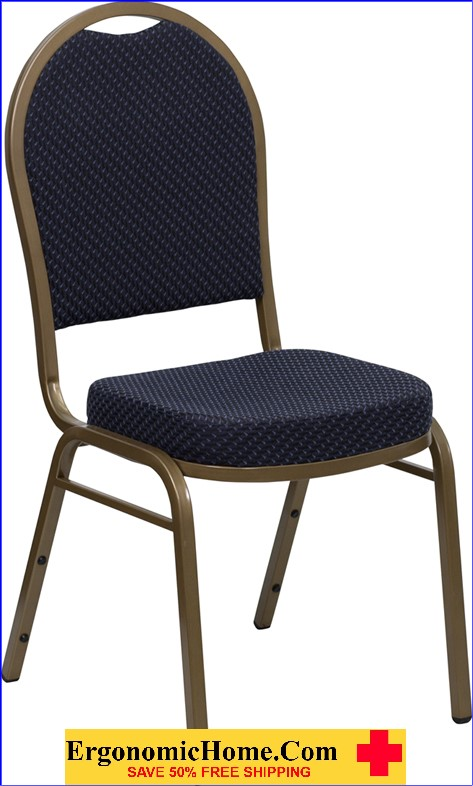</b></font>Ergonomic Home TOUGH ENOUGH Series Dome Back Stacking Banquet Chair with Navy Patterned Fabric and 2.5'' Thick Seat - Gold Frame EH-FD-C03-ALLGOLD-H203774-GG <b></font>. </b></font></b>