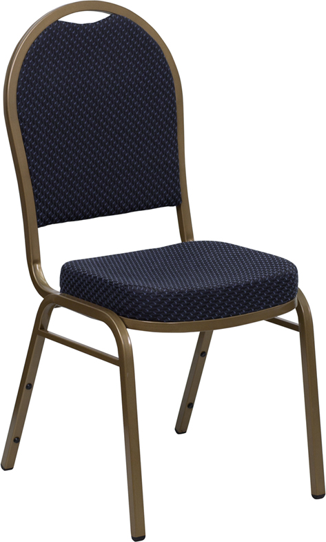 Ergonomic Home TOUGH ENOUGH Series Dome Back Stacking Banquet Chair with Navy Patterned Fabric and 2.5'' Thick Seat - Gold Frame EH-FD-C03-ALLGOLD-H203774-GG <b><font color=green>50% Off Read More Below...</font></b>