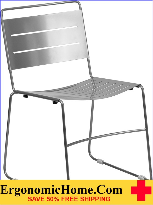 Ergonomic Home TOUGH ENOUGH Series Silver Indoor-Outdoor Metal Stack Chair EH-HA-1-SIL-GG .