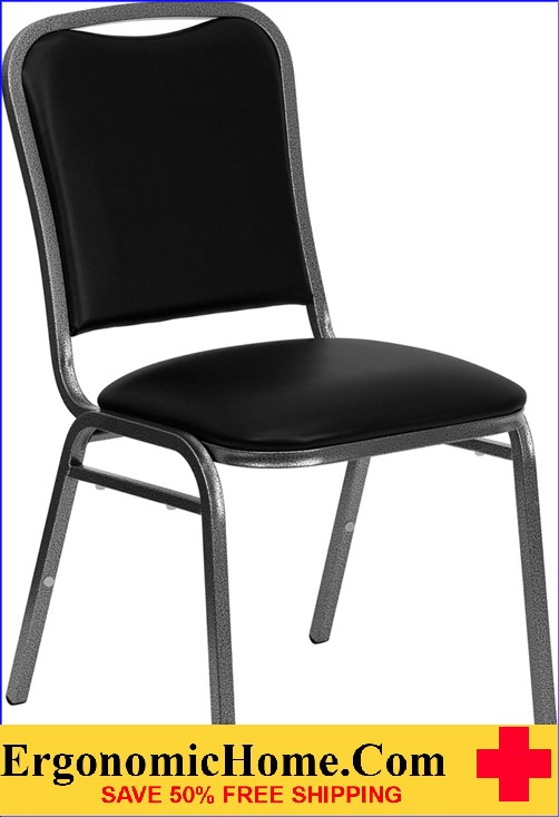 </b></font>Ergonomic Home Series Stacking Banquet Chair with Black Vinyl and 1.5'' Thick Seat - Silver Vein Frame EH-NG-108-SV-BK-VYL-GG <b></font>. </b></font></b>