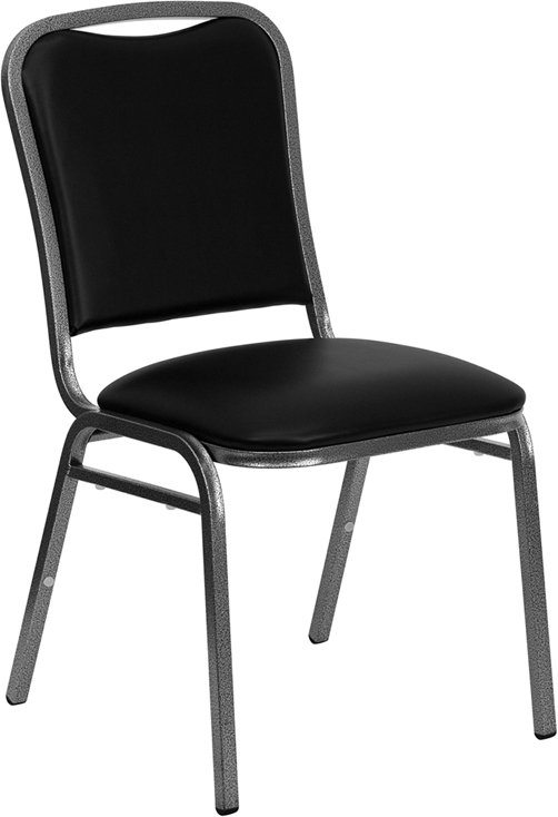 TOUGH ENOUGH Series Stacking Banquet Chair with Black Vinyl and 1.5'' Thick Seat - Silver Vein Frame NG-108-SV-BK-VYL-GG