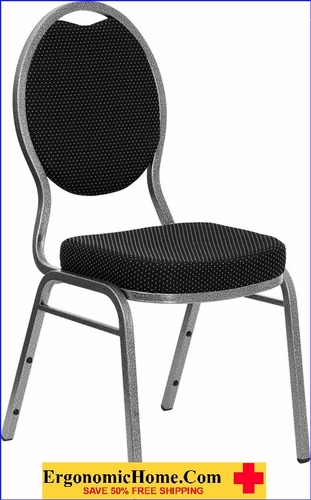 Ergonomic Home TOUGH ENOUGH Series Teardrop Back Stacking Banquet Chair with Black Patterned Fabric and 2.5'' Thick Seat - Silver Vein Frame EH-FD-C04-SILVERVEIN-S076-GG <b><font color=green>50% Off Read More Below...</font></b></font></b>