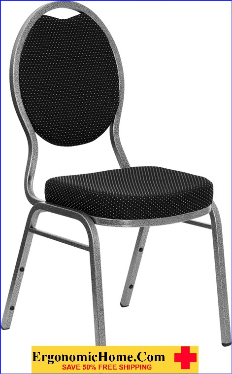 </b></font>Ergonomic Home TOUGH ENOUGH Series Teardrop Back Stacking Banquet Chair with Black Patterned Fabric and 2.5'' Thick Seat - Silver Vein Frame EH-FD-C04-SILVERVEIN-S076-GG <b></font>. </b></font></b>