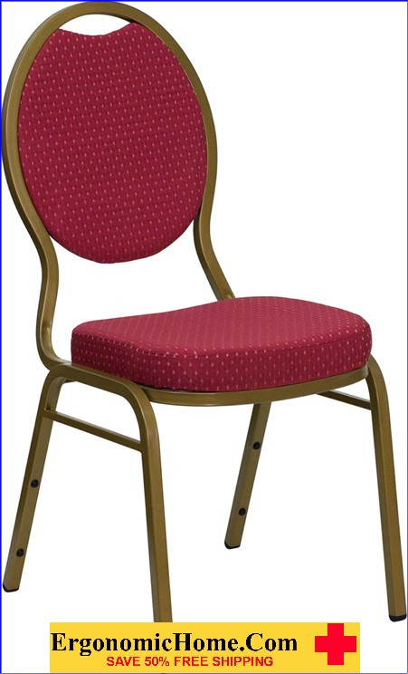 Ergonomic Home TOUGH ENOUGH Series Teardrop Back Stacking Banquet Chair with Burgundy Patterned Fabric and 2.5'' Thick Seat - Gold Frame EH-FD-C04-ALLGOLD-2804-GG <b><font color=green>50% Off Read More Below...</font></b>