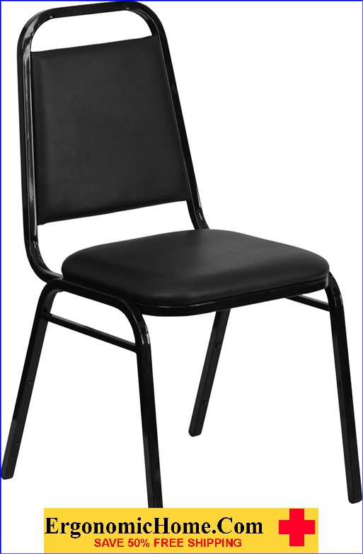 </b></font>Ergonomic Home TOUGH ENOUGH Series Trapezoidal Back Stacking Banquet Chair with Black Vinyl and 1.5'' Thick Seat - Black Frame EH-FD-BHF-2-GG <b></font>. </b></font></b>