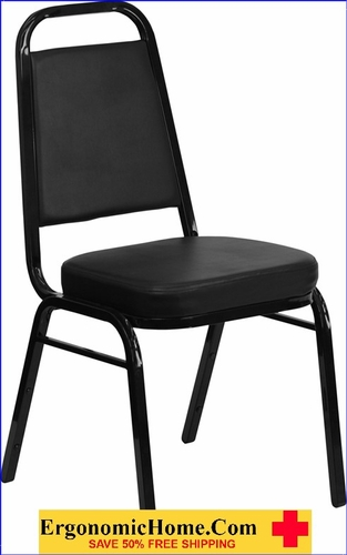 Ergonomic Home TOUGH ENOUGH Series Trapezoidal Back Stacking Banquet Chair with Black Vinyl and 2.5'' Thick Seat - Black Frame EH-FD-BHF-1-GG <b><font color=green>50% Off Read More Below...</font></b></font></b>