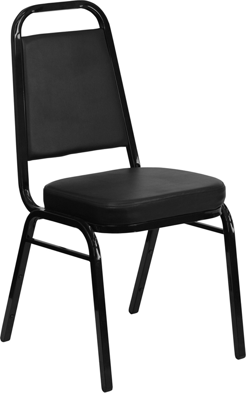 <font color=#c60>Save 50% w/Free Shipping!</font> TOUGH ENOUGH Series Trapezoidal Back Stacking Banquet Chair with Black Vinyl and 2.5'' Thick Seat - Black Frame FD-BHF-1-GG <font color=#c60>Read More ... </font>