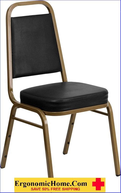 </b></font>Ergonomic Home TOUGH ENOUGH Series Trapezoidal Back Stacking Banquet Chair with Black Vinyl and 2.5'' Thick Seat - Gold Frame EH-FD-BHF-1-ALLGOLD-BK-GG <b></font>. </b></font></b>