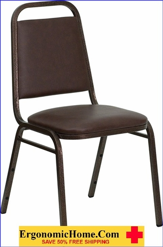 Ergonomic Home TOUGH ENOUGH Series Trapezoidal Back Stacking Banquet Chair with Brown Vinyl and 1.5'' Thick Seat - Copper Vein Frame EH-FD-BHF-2-BN-GG <b><font color=green>50% Off Read More Below...</font></b>
