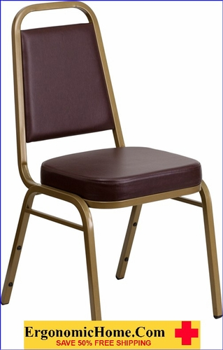 Ergonomic Home TOUGH ENOUGH Series Trapezoidal Back Stacking Banquet Chair with Brown Vinyl and 2.5'' Thick Seat - Gold Frame EH-FD-BHF-1-ALLGOLD-BN-GG <b><font color=green>50% Off Read More Below...</font></b>