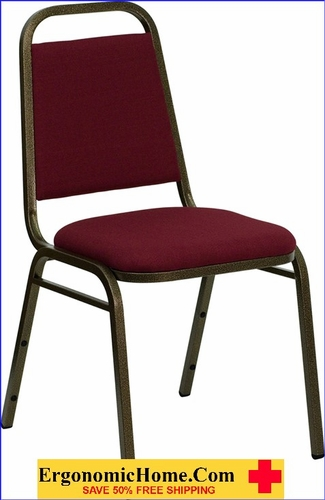 Ergonomic Home TOUGH ENOUGH Series Trapezoidal Back Stacking Banquet Chair with Burgundy Fabric and 1.5'' Thick Seat - Gold Vein Frame EH-FD-BHF-2-BY-GG <b><font color=green>50% Off Read More Below...</font></b>
