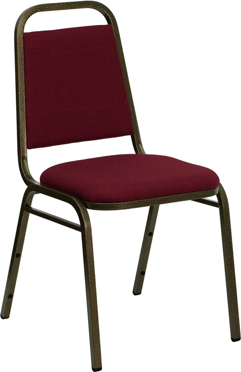 <font color=#c60>Save 50% w/Free Shipping!</font> TOUGH ENOUGH Series Trapezoidal Back Stacking Banquet Chair with Burgundy Fabric and 1.5'' Thick Seat - Gold Vein Frame FD-BHF-2-BY-GG <font color=#c60>Read More ... </font>