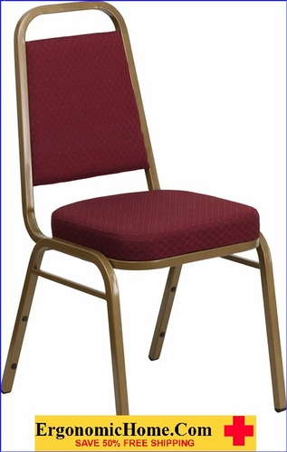 Ergonomic Home TOUGH ENOUGH Series Trapezoidal Back Stacking Banquet Chair with Burgundy Patterned Fabric and 2.5'' Thick Seat - Gold Frame EH-FD-BHF-1-ALLGOLD-0847-BY-GG <b><font color=green>50% Off Read More Below...</font></b></font></b>