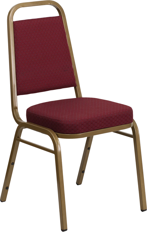 Ergonomic Home TOUGH ENOUGH Series Trapezoidal Back Stacking Banquet Chair with Burgundy Patterned Fabric and 2.5'' Thick Seat - Gold Frame EH-FD-BHF-1-ALLGOLD-0847-BY-GG <b><font color=green>50% Off Read More Below...</font></b>