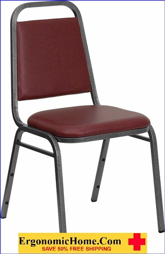 Ergonomic Home TOUGH ENOUGH Series Trapezoidal Back Stacking Banquet Chair with Burgundy Vinyl and 1.5'' Thick Seat - Silver Vein Frame EH-FD-BHF-2-BY-VYL-GG <b><font color=green>50% Off Read More Below...</font></b></font></b>