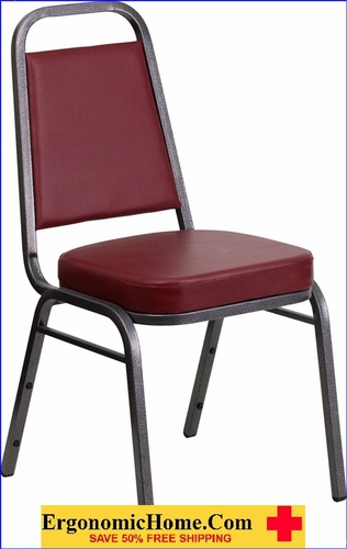 Ergonomic Home TOUGH ENOUGH Series Trapezoidal Back Stacking Banquet Chair with Burgundy Vinyl and 2.5'' Thick Seat - Silver Vein Frame EH-FD-BHF-1-SILVERVEIN-BY-GG <b><font color=green>50% Off Read More Below...</font></b></font></b>