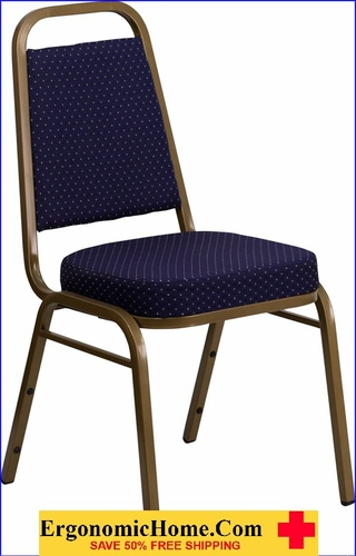 Ergonomic Home TOUGH ENOUGH Series Trapezoidal Back Stacking Banquet Chair with Navy Patterned Fabric and 2.5'' Thick Seat - Gold Frame EH-FD-BHF-1-ALLGOLD-0849-NVY-GG <b><font color=green>50% Off Read More Below...</font></b></font></b>