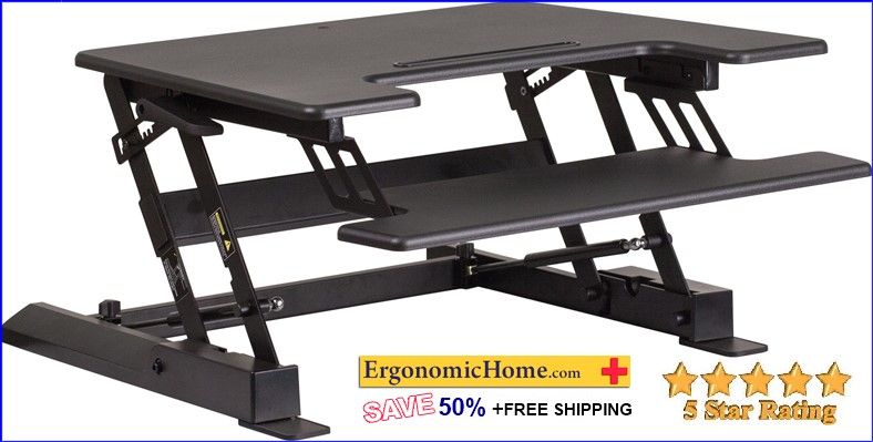 "TOUGH ENOUGH HEIGHT ADJUSTABLE DESK FROM 6.5"" To 16.5"". INCLUDES KEYBOARD TRAY #EH-2825:"