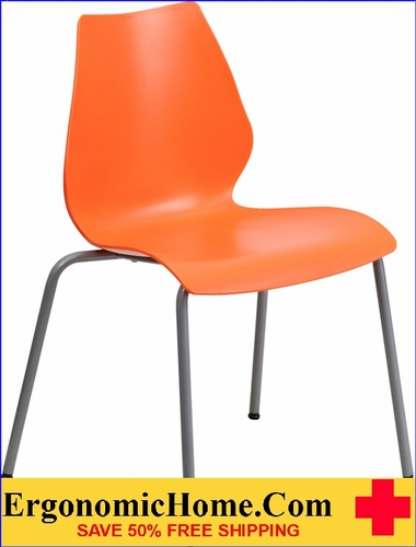 TOUGH ENOUGH Series 770 lb. Capacity Orange Stack Chair with Lumbar Support and Silver Frame
