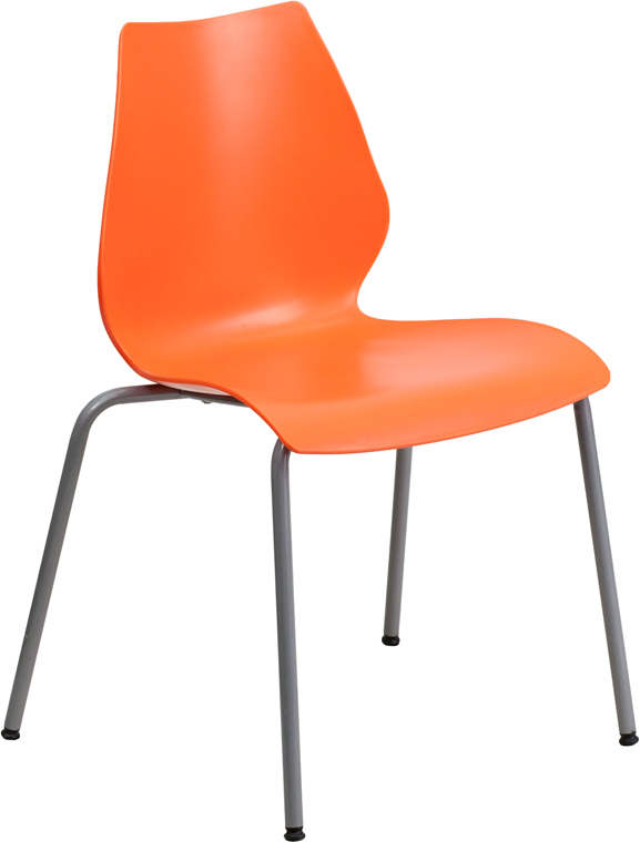 TOUGH ENOUGH Series 770 lb. Capacity Orange Stack Chair with Lumbar Support and Silver Frame RUT-288-ORANGE-GG