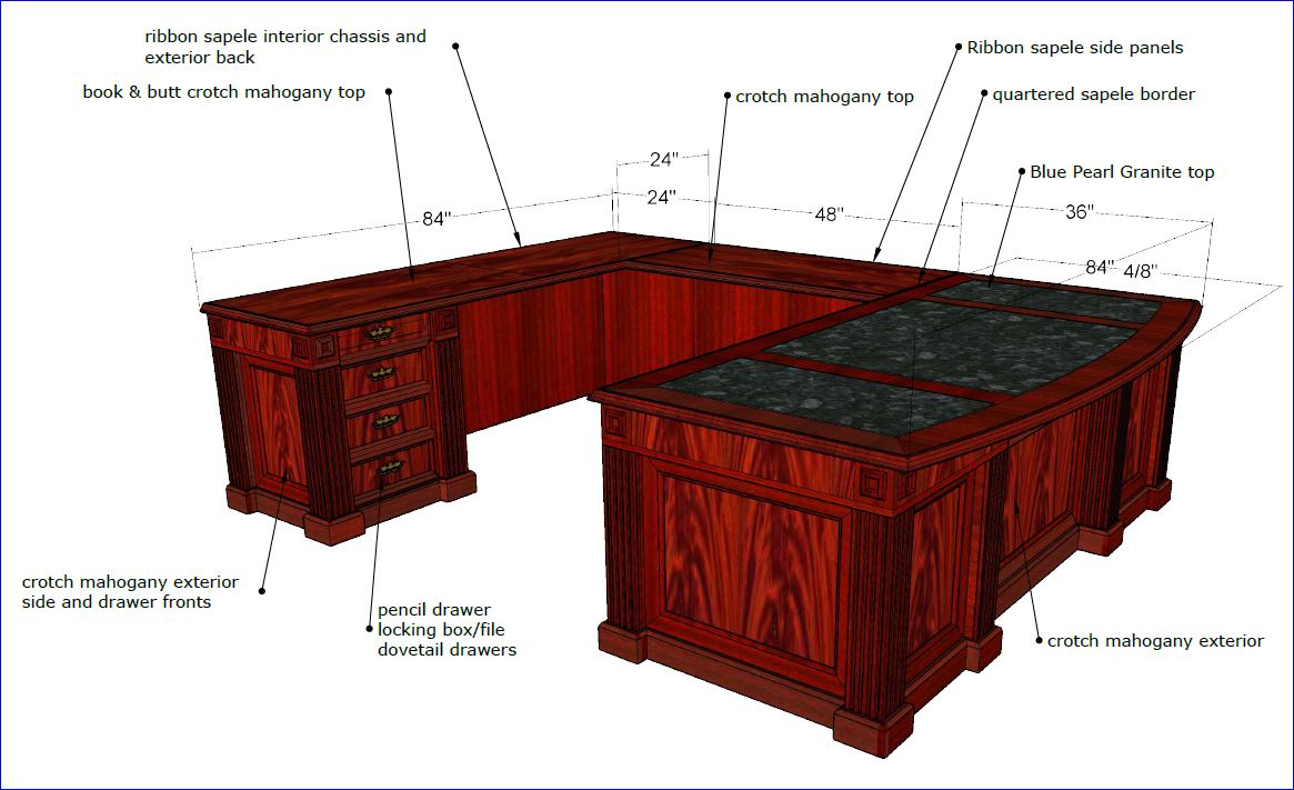 U-SHAPED EXECUTIVE OFFICE DESK. BEAUTIFUL HAND MADE CRAFTSMANSHIP IN  FLAME/CROTCH MAHOGANY. FREE SHIPPING+ASSEMBLY INCLUDED. READ MORE BELOW.
