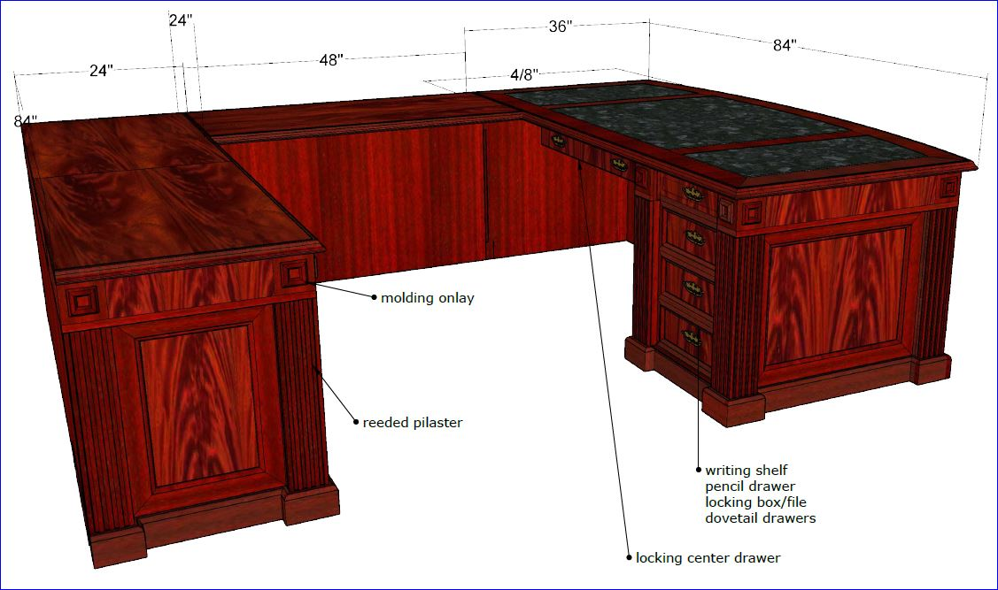 U Shaped Executive Office Desk Beautiful Hand Made Craftsmanship In Flame Crotch Gany Free Assembly Included Below