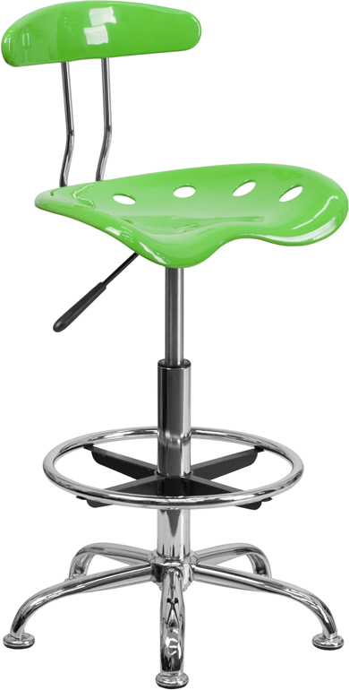 Ergonomic Home Vibrant Apple Green and Chrome Drafting Stool with Tractor Seat <b><font color=green>50% Off Read More Below...</font></b>