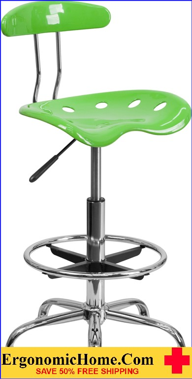 Ergonomic Home Vibrant Apple Green and Chrome Drafting Stool with Tractor Seat <b><font color=green>50% Off Read More Below...</font></b></font></b>