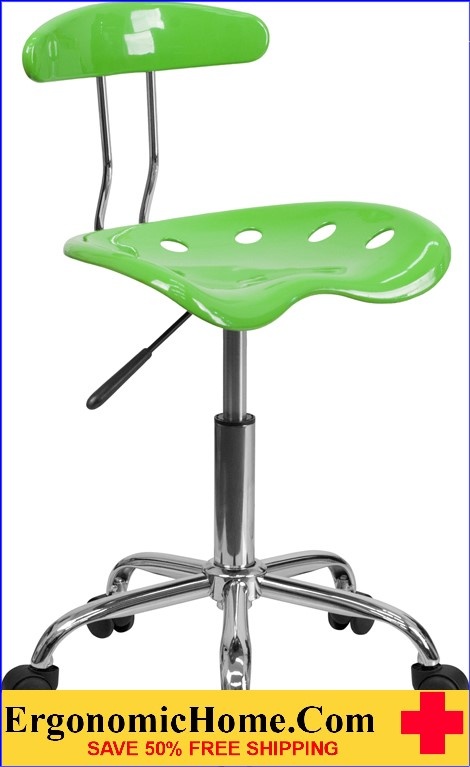 Ergonomic Home Vibrant Apple Green and Chrome Task Chair with Tractor Seat <b><font color=green>50% Off Read More Below...</font></b>