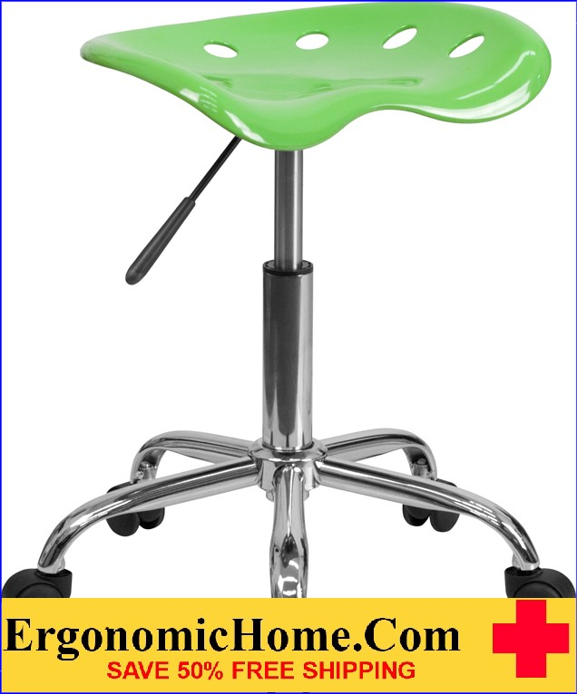 Ergonomic Home Vibrant Apple Green Tractor Seat and Chrome Stool <b><font color=green>50% Off Read More Below...</font></b>