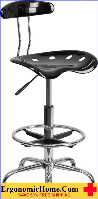 Ergonomic Home Vibrant Black and Chrome Drafting Stool with Tractor Seat <b><font color=green>50% Off Read More Below...</font></b>