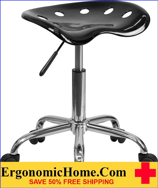 Ergonomic Home Vibrant Black Tractor Seat and Chrome Stool <b><font color=green>50% Off Read More Below...</font></b>