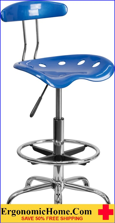 Ergonomic Home Vibrant Bright Blue and Chrome Drafting Stool with Tractor Seat <b><font color=green>50% Off Read More Below...</font></b></font></b>
