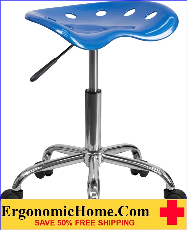 Ergonomic Home Vibrant Bright Blue Tractor Seat and Chrome Stool <b><font color=green>50% Off Read More Below...</font></b>