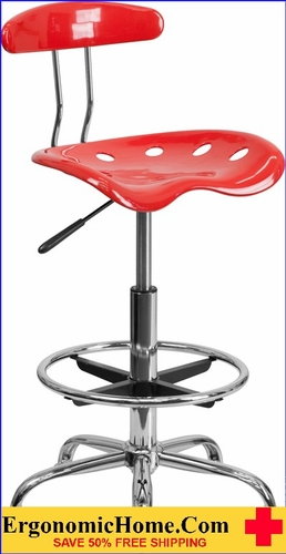 Ergonomic Home Vibrant Cherry Tomato and Chrome Drafting Stool with Tractor Seat <b><font color=green>50% Off Read More Below...</font></b></font></b>