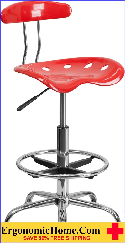 Ergonomic Home Vibrant Cherry Tomato and Chrome Drafting Stool with Tractor Seat <b><font color=green>50% Off Read More Below...</font></b>