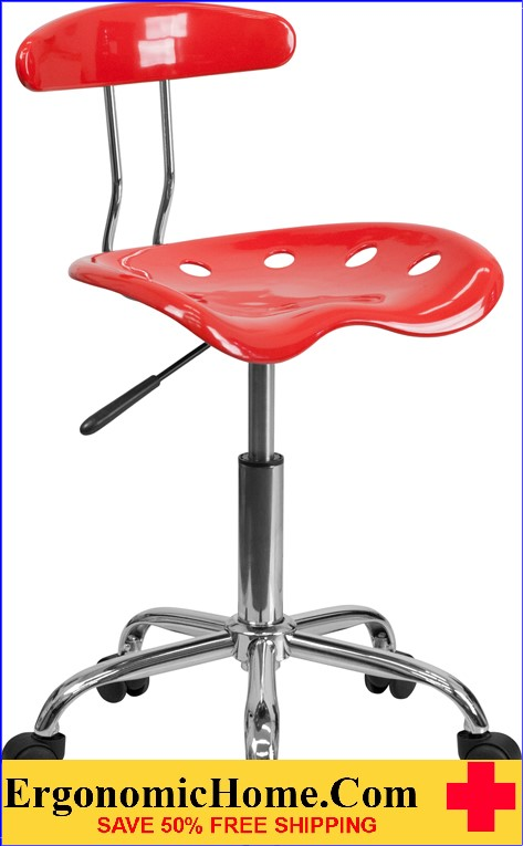 Ergonomic Home Vibrant Cherry Tomato and Chrome Task Chair with Tractor Seat <b><font color=green>50% Off Read More Below...</font></b>