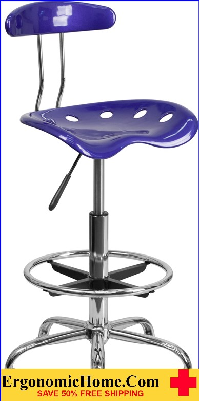 Ergonomic Home Vibrant Deep Blue and Chrome Drafting Stool with Tractor Seat <b><font color=green>50% Off Read More Below...</font></b>