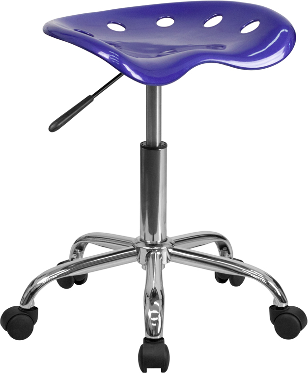 Ergonomic Home Vibrant Deep Blue Tractor Seat and Chrome Stool <b><font color=green>50% Off Read More Below...</font></b>