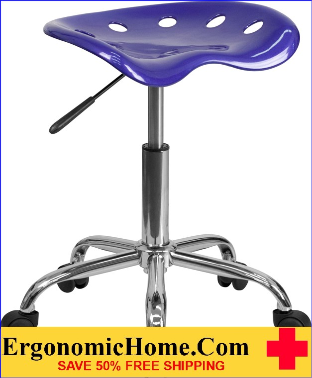 Ergonomic Home Vibrant Deep Blue Tractor Seat and Chrome Stool <b><font color=green>50% Off Read More Below...</font></b></font></b>