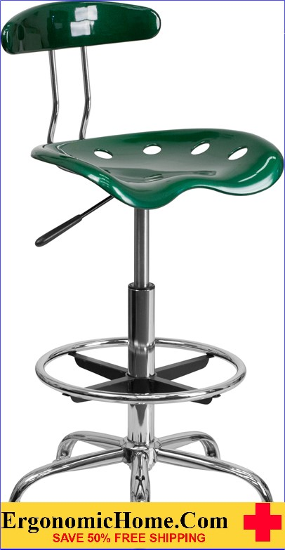 Ergonomic Home Vibrant Green and Chrome Drafting Stool with Tractor Seat <b><font color=green>50% Off Read More Below...</font></b>