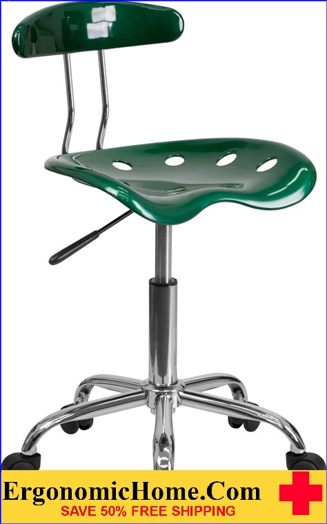 Ergonomic Home Vibrant Green and Chrome Task Chair with Tractor Seat <b><font color=green>50% Off Read More Below...</font></b>