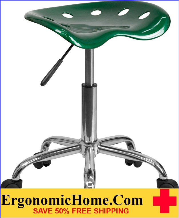 Ergonomic Home Vibrant Green Tractor Seat and Chrome Stool <b><font color=green>50% Off Read More Below...</font></b>